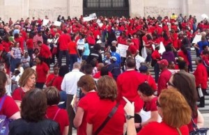 Louisiana teachers protest on the steps of the State Capitol.