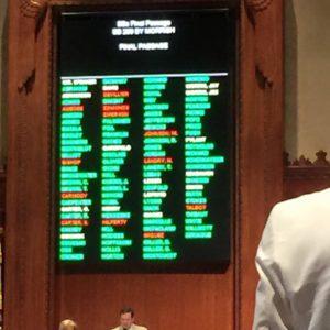 Final passage of Sen. Morrish's charter bill. Twelve votes against, including Rep. Landry.